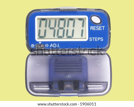 Blue pedometer two, contains clipping path - stock photo