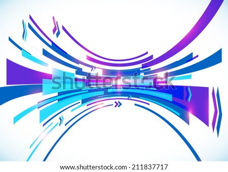Blue perspective bow lines abstract background - stock photo