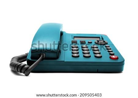 Blue phone isolated on white background closeup - stock photo