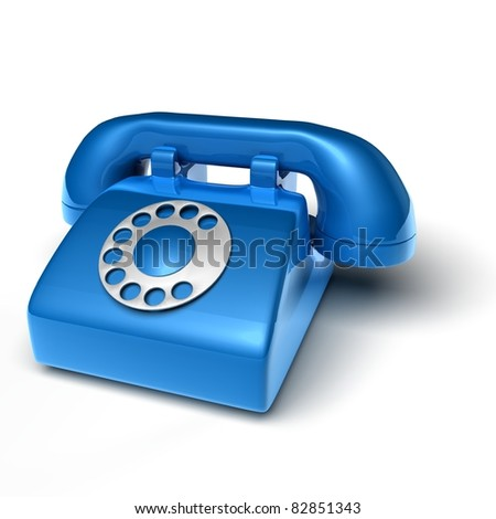 blue phone on white background - 3D render bitmap - stock photo