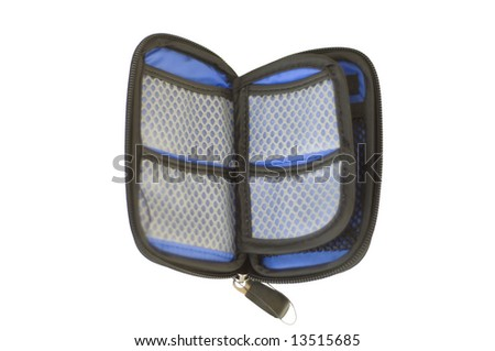 Blue photography wallet to hold memory cards - stock photo