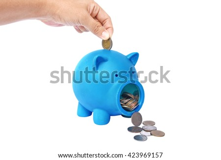 Blue Piggy bank with coins and credit card isolate on white background - stock photo