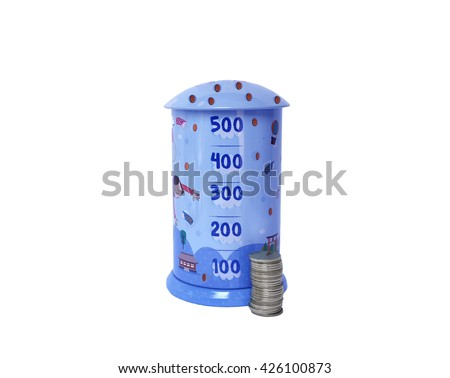 Blue Piggy bank with coins isolated on white background - stock photo
