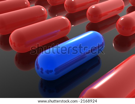 blue pill among red pills on black background - stock photo