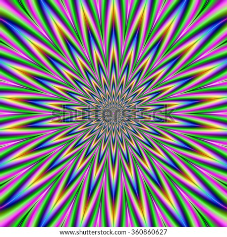 Blue Pink Green and Violet Star Burst / A digital abstract fractal image with an optically challenging exploding star design  in pink, green, blue, and violet. - stock photo
