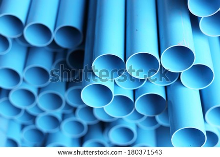 blue pipe is  in stock  - stock photo