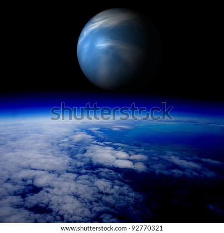 Blue planet above the Earth's surface. Are there other planets like Earth? Combination of photo and 3D render. - stock photo
