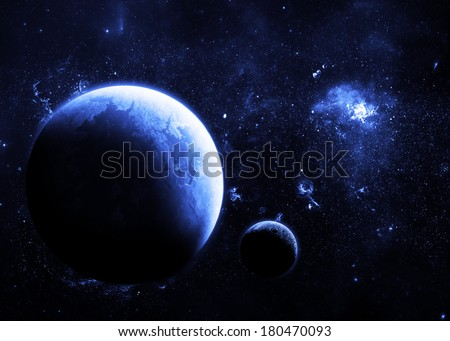Blue Planet Deep in Space - Elements of this Image Furnished by NASA - stock photo