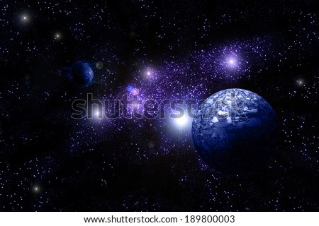 Blue Planet Deep in Space, galaxy and universe. Element of this image furnished by NASA - stock photo