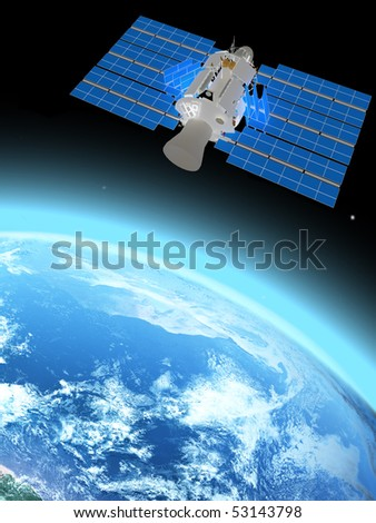 blue  planet earth and satellite  in space. - stock photo
