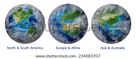 Blue Planet Earth, Global World with clouds showing America, Europe, Africa, Asia, Australia continent. Elements of this image furnished by NASA - Photo realistic 3 D rendering with clipping path - stock photo
