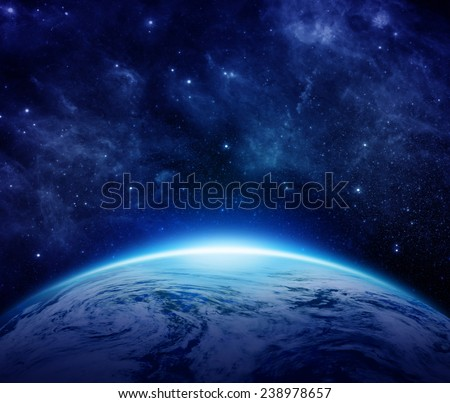 Blue Planet Earth, sun, stars, galaxies, nebulae, milky way in space with Place for Text. Global World with some clouds the dark sky can use for background. Elements of this image furnished by NASA - stock photo