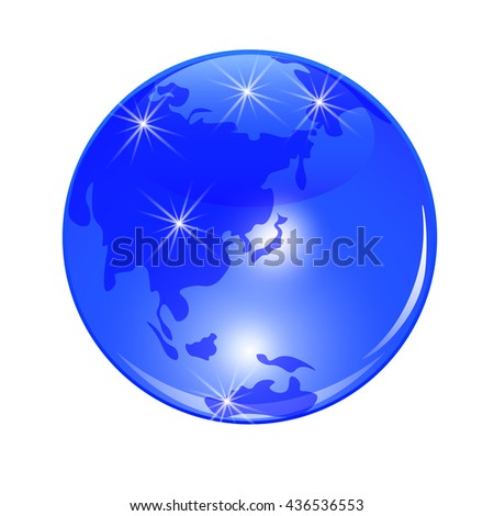 Blue planet earth. View from Japan, China and the Far East. . Stylized glossy ball. Raster illustration - stock photo