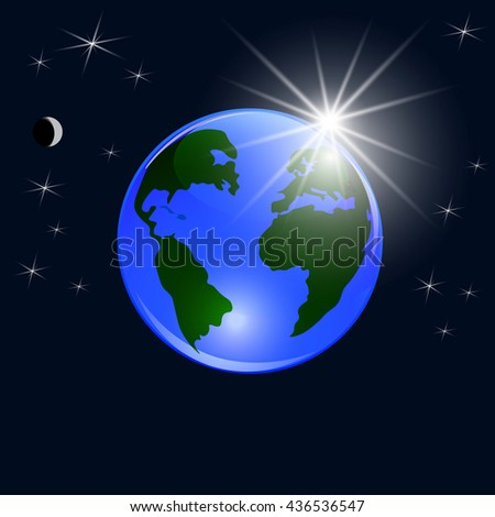 Blue planet earth. View from space to the ground and the rising sun. Stylized glossy ball. Raster illustration - stock photo