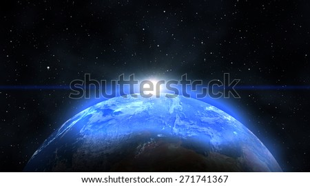 Blue Planet earth with sunrise in the space  - stock photo