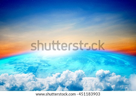 Blue planet, Earth with white clouds and sun light, Elements of this image furnished by NASA - stock photo