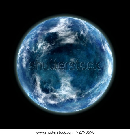blue planet isolated on black - stock photo