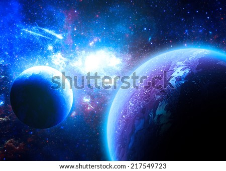Blue Planetscape - Elements of this Image Furnished by NASA - stock photo
