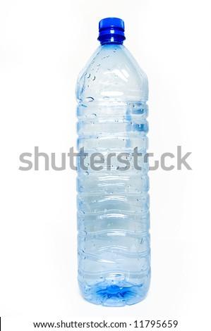 Blue, plastic bottle isolated on white background - stock photo