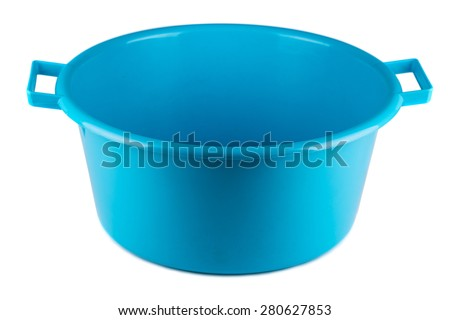 Blue plastic bowl isolated on white background - stock photo