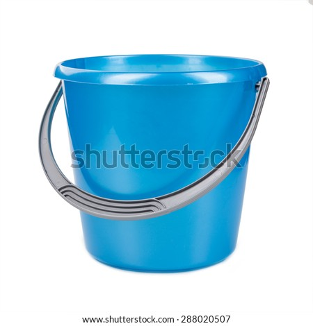 Blue plastic bucket on a white background. - stock photo