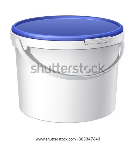 Blue plastic bucket with White lid. Product Packaging For food, foodstuff or paints, adhesives, sealants, primers, putty. - stock photo