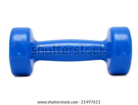 blue plastic coated hand weight - stock photo