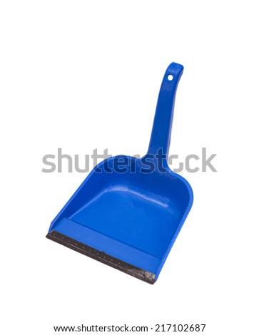 blue plastic dustpan on  white background - stock photo