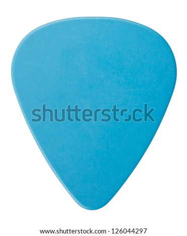 blue plastic guitar plectrum, isolated on white - stock photo