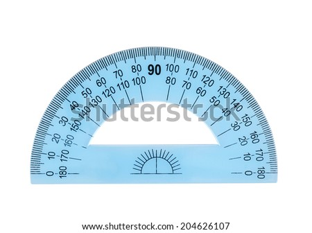 Blue plastic protractor ruler, isolated over the white background - stock photo