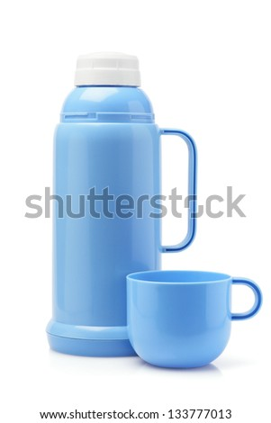 Blue Plastic Thermos Flask And Cup On White Background - stock photo