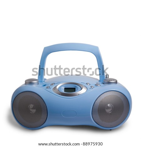 blue player portable stereo CD mp3 radio cassette recorder isolated on white - stock photo