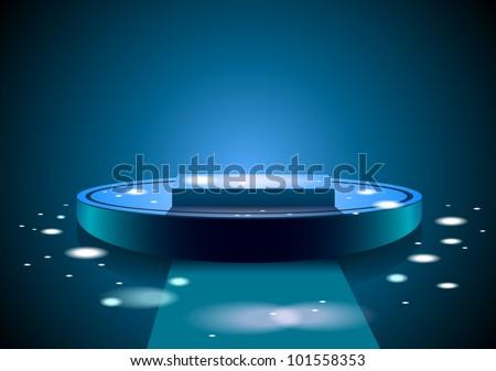 Blue podium illustration - stock photo