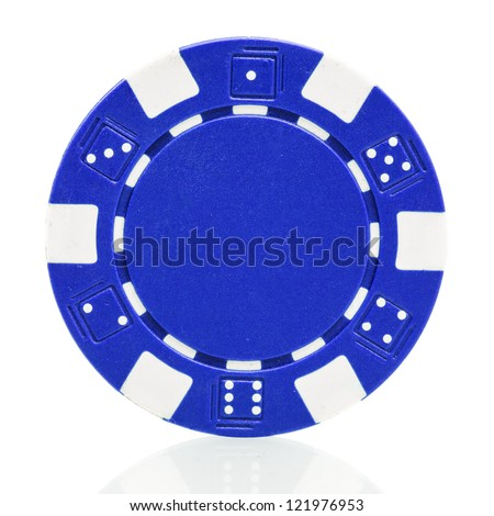 Blue poker chip isolated on white background - stock photo