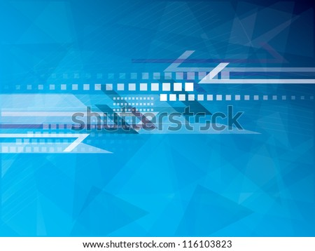 Blue polygonal futuristic abstract background - stock photo
