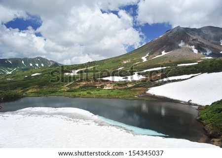 Blue pond in famous mountain, north of Japan - stock photo