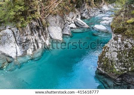 Blue Pools, Haast Pass Makarora Road, South Island New Zealand - stock photo