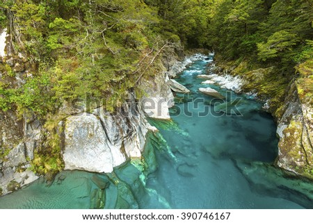 Blue Pools in Mount Aspiring National Park, New Zealand. - stock photo