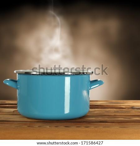 blue pot and smoke  - stock photo