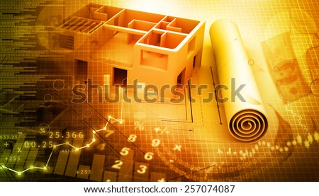 Blue print of a architectural project - stock photo