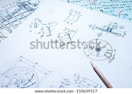 Blue print on table - stock photo