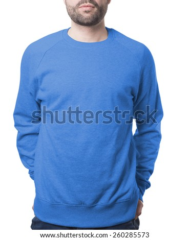 blue pullover on young man template isolated on white with clipping path both for background and garment - stock photo