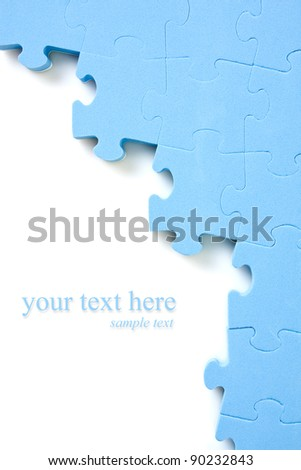 blue puzzle background  with space for your text - stock photo