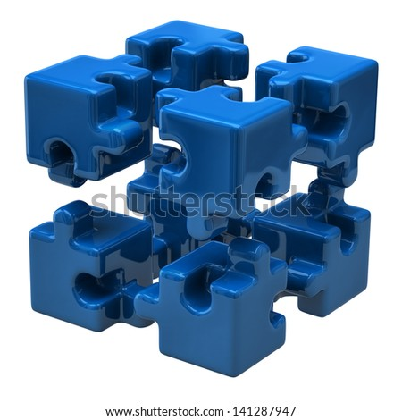 Blue puzzle cube isolated on white background - stock photo