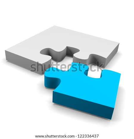 blue puzzle piece combined solution concept on white background - stock photo