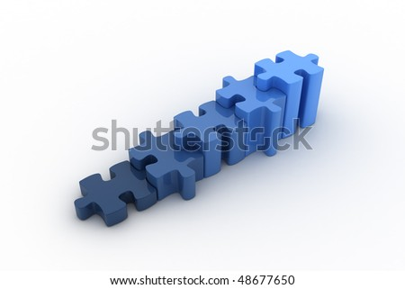 Blue puzzles are representing a growth graph. Concept of success, growth, positive attitude, finance,... - stock photo