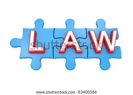 Blue puzzles with a word LAW. 3d rendered. Isolated on white background. - stock photo