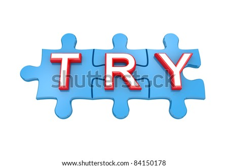 Blue puzzles with a word TRY. 3d rendered. Isolated on white background. - stock photo