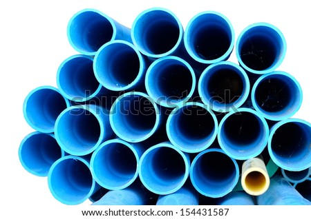 blue PVC pipes stacked in White background - stock photo