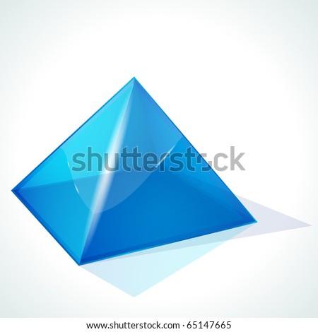 Blue pyramid on white background - stock photo